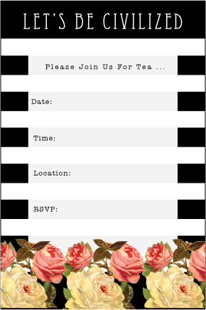 Invitations can be printed simply on one side, or flip page over and print the striped background for a more finished look.