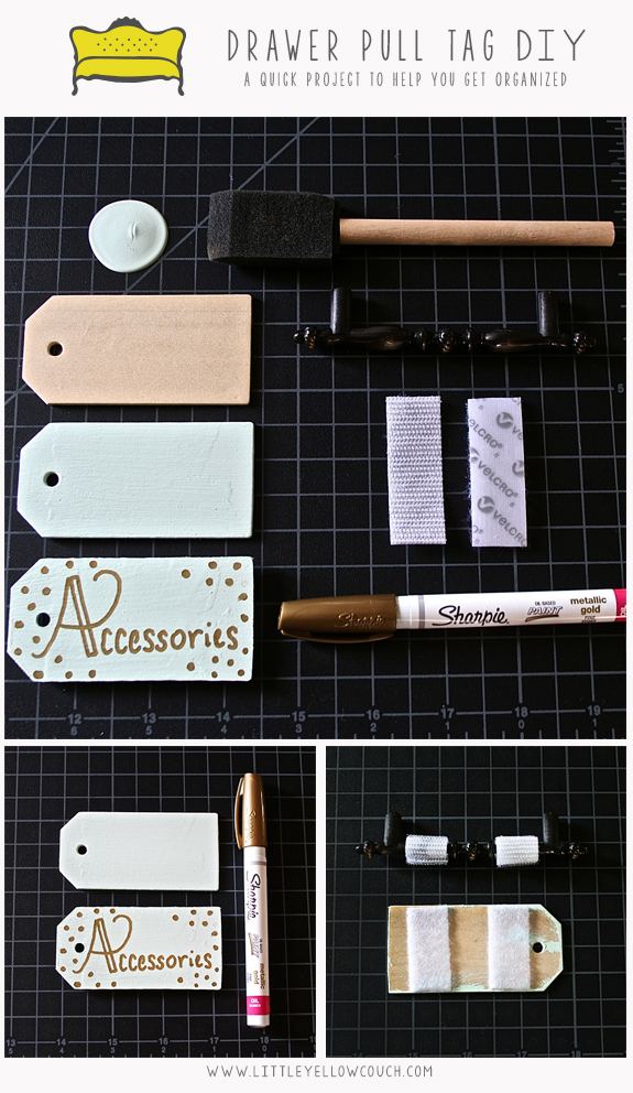 "Supplies:  Wooden Tags ( Save-on-Crafts ) Paint (We used Behr Ultra Matte in Winter Fresh) Foam Brush ( Create for Less ) Sticky Back Velcro 3/4"" Metallic Gold Oil Based Sharpie"