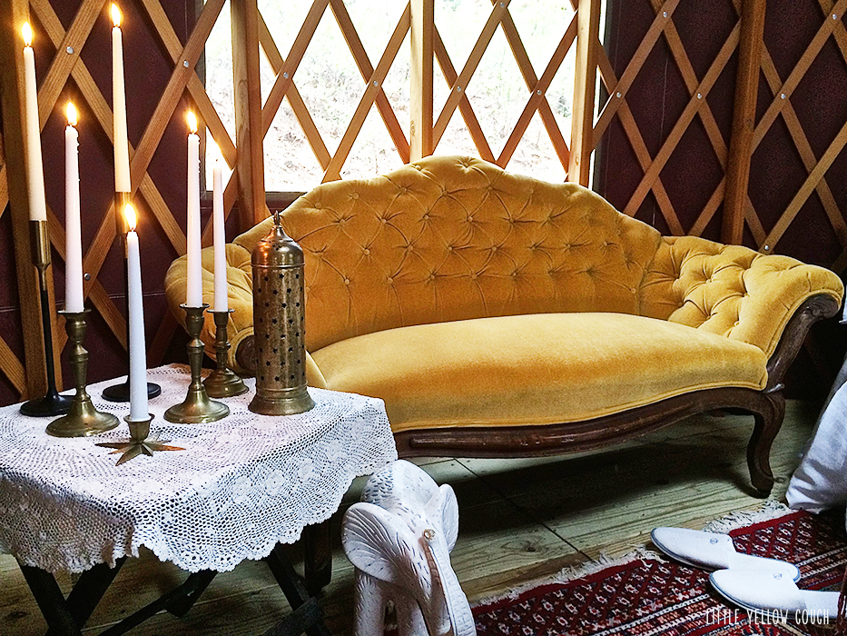 The Little Yellow Couch goes glamping.