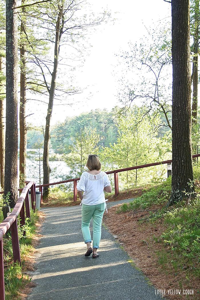 Sam follows the path to the beach.