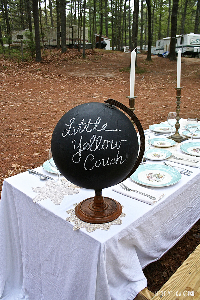 Setting the table for glamping.