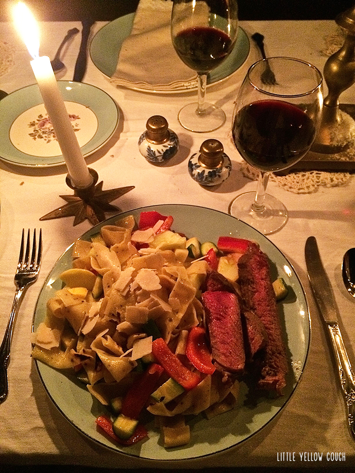 Pasta, veggies, steak and wine. Perfect glamping meal.