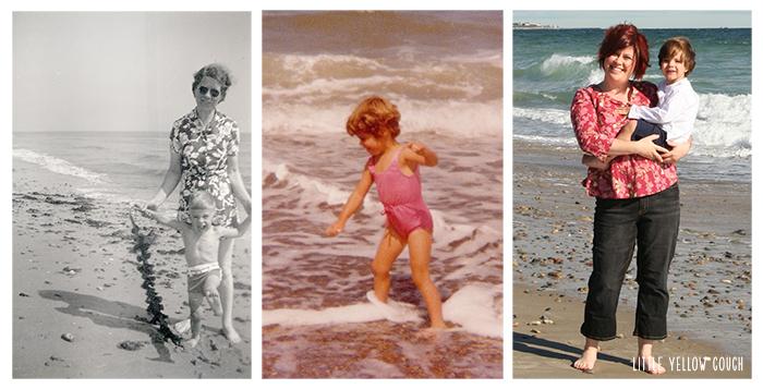 Madeline & James, Karen's Grandmother and father; Karen in the waves; Karen with her son, Kolya