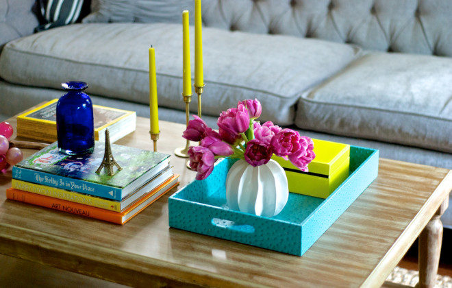 Watch Hilary's video where she shows two different ways to  style your coffee table.