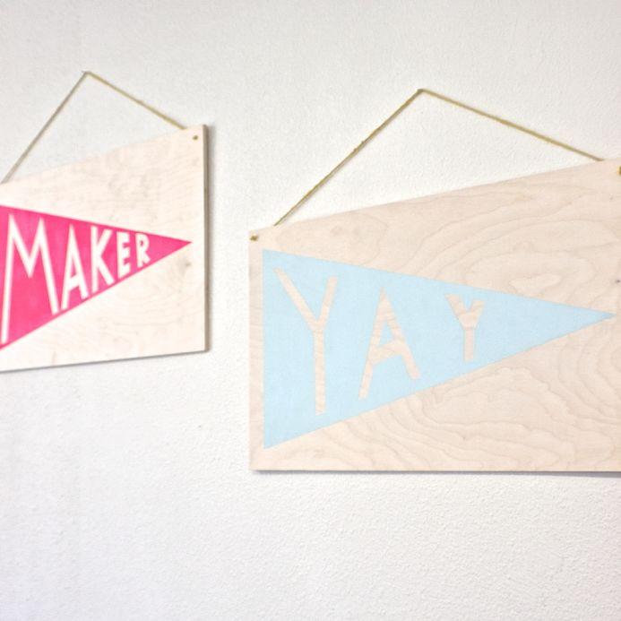DIY Wood Pennant Print by  Lisa Rios  of  The Makery  for  Dear Handmade Life .
