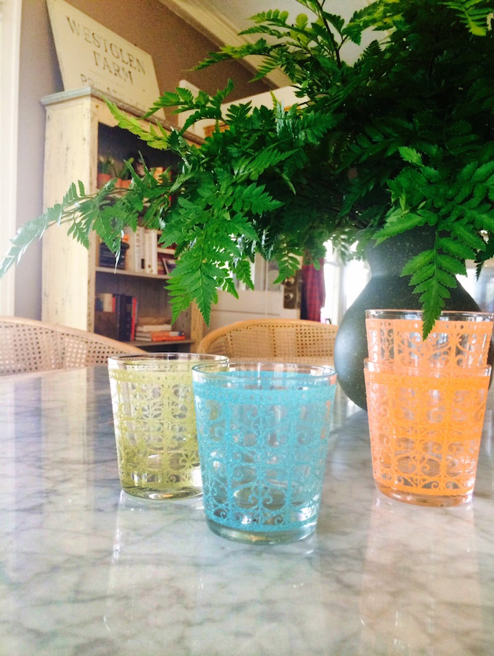 Just out of college, Ellen scooped up a set of six vintage glasses at an antique shop in Hoboken. Four survived her 20's and many moves and are among her longest held and loved possessions.