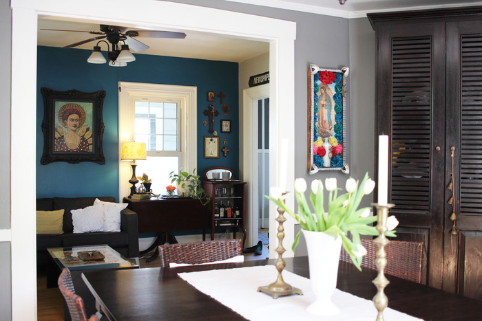 The new blue is a deep, rich turquoise which Karen has been wanting to do for a long time. The lovely medium-tone gray in the dining room is sophisticated and feels fresh and modern.
