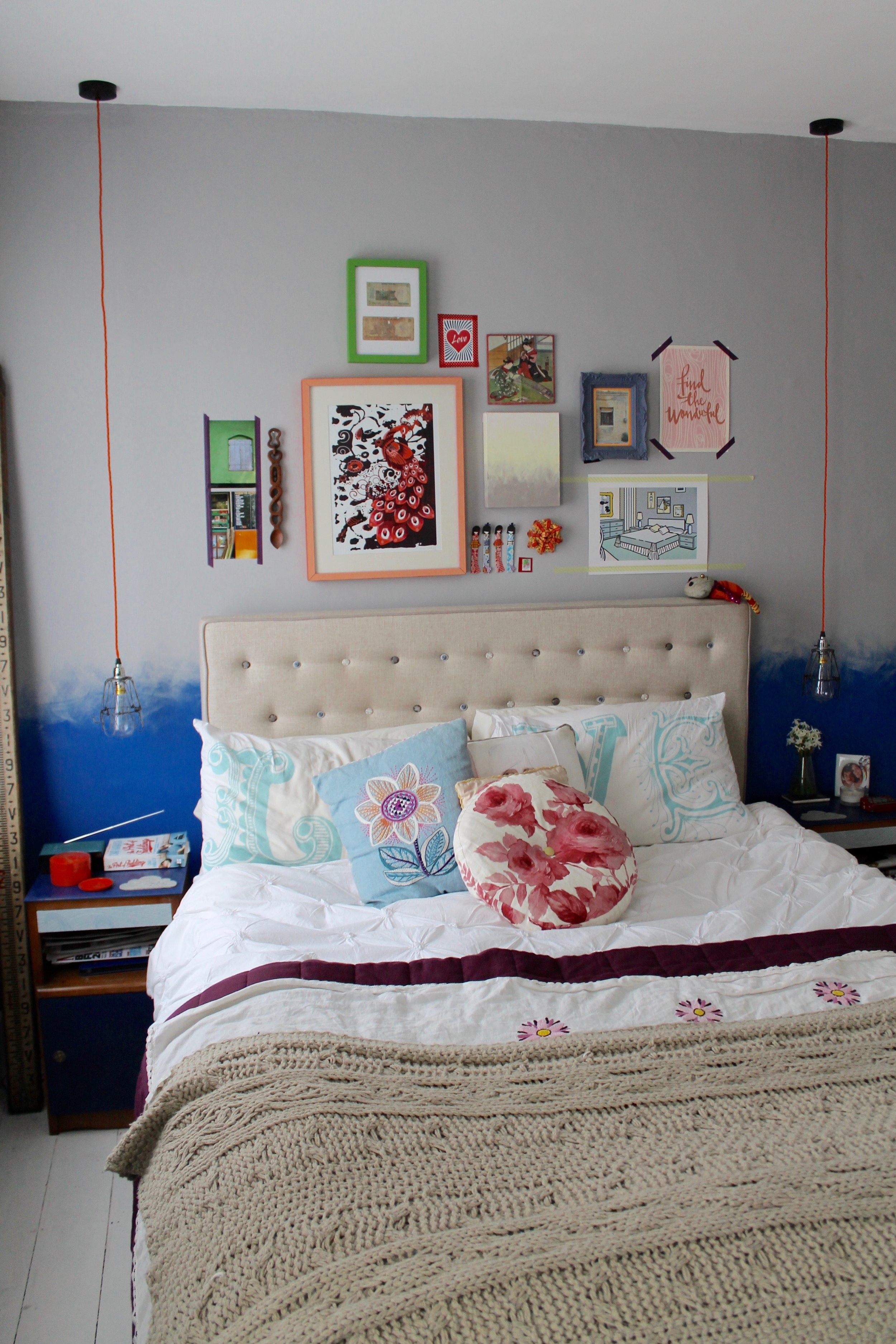 Photography provided by Joanna Thornhill -  Bedroom showing ombre feature wall and vintage customised bedside cabinets