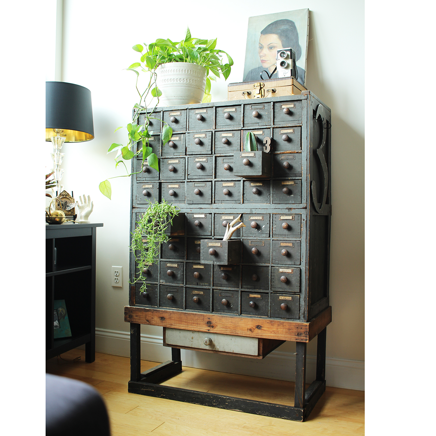 My Brimfield find ... a vintage cabinet of drawers made from WWII mortar shell boxes