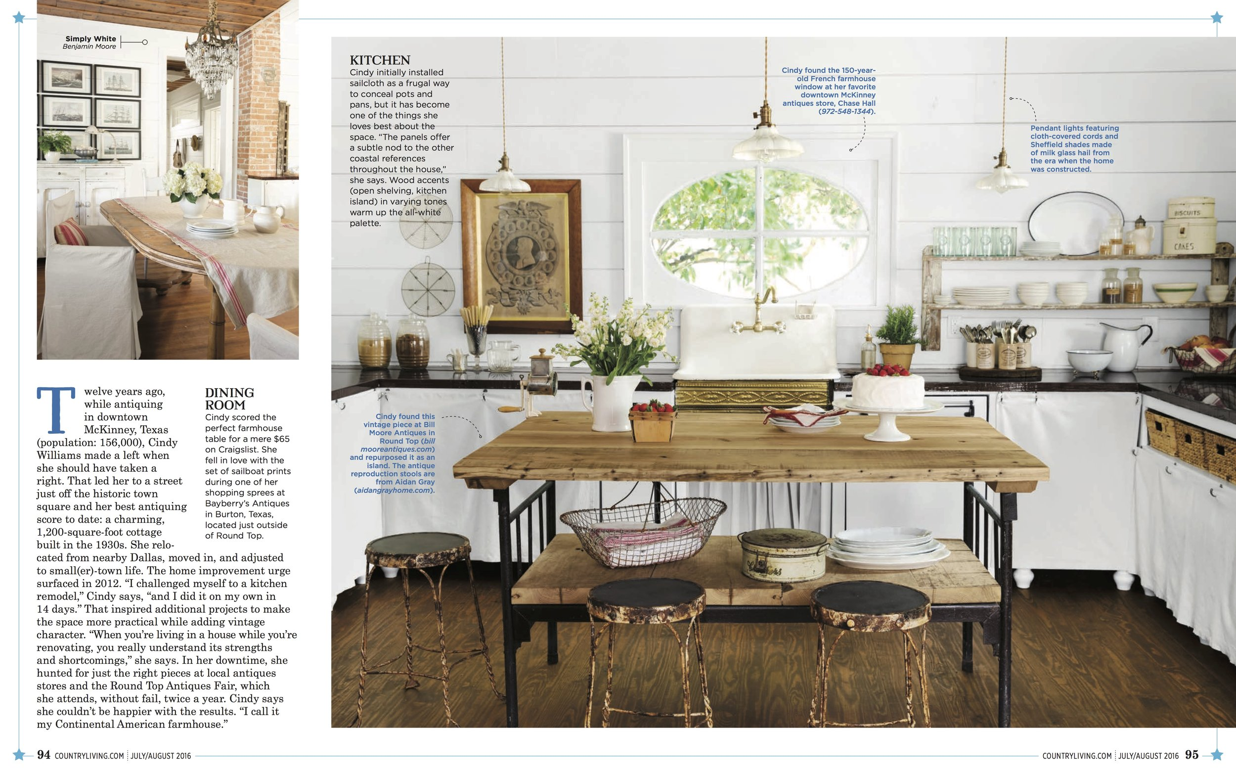 Styling Becki Griffin, Photographed by Buff Strickland for Country Living Magazine. Cindy Williams Homeowner