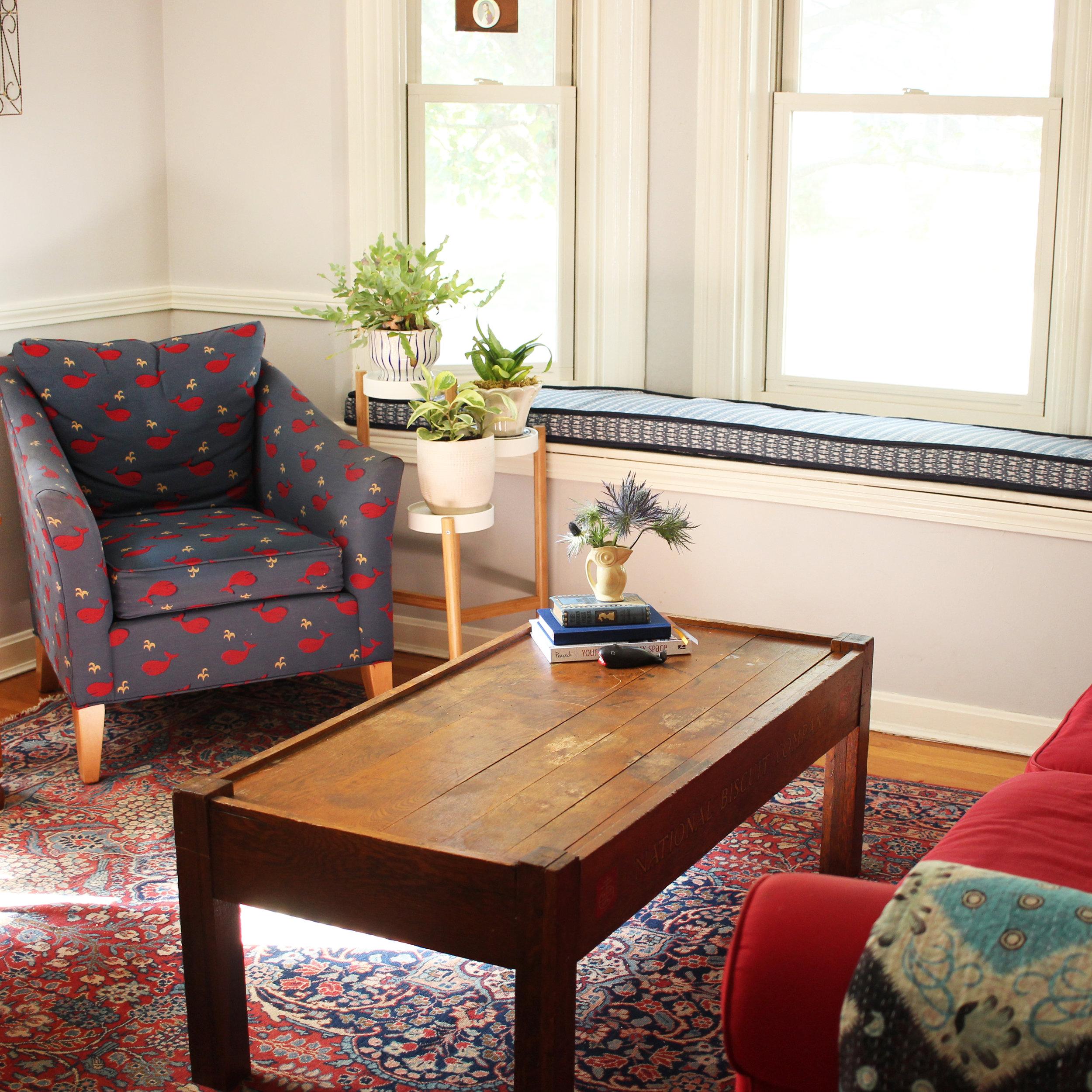 Zandra's new window seat with fabric from Loom Home