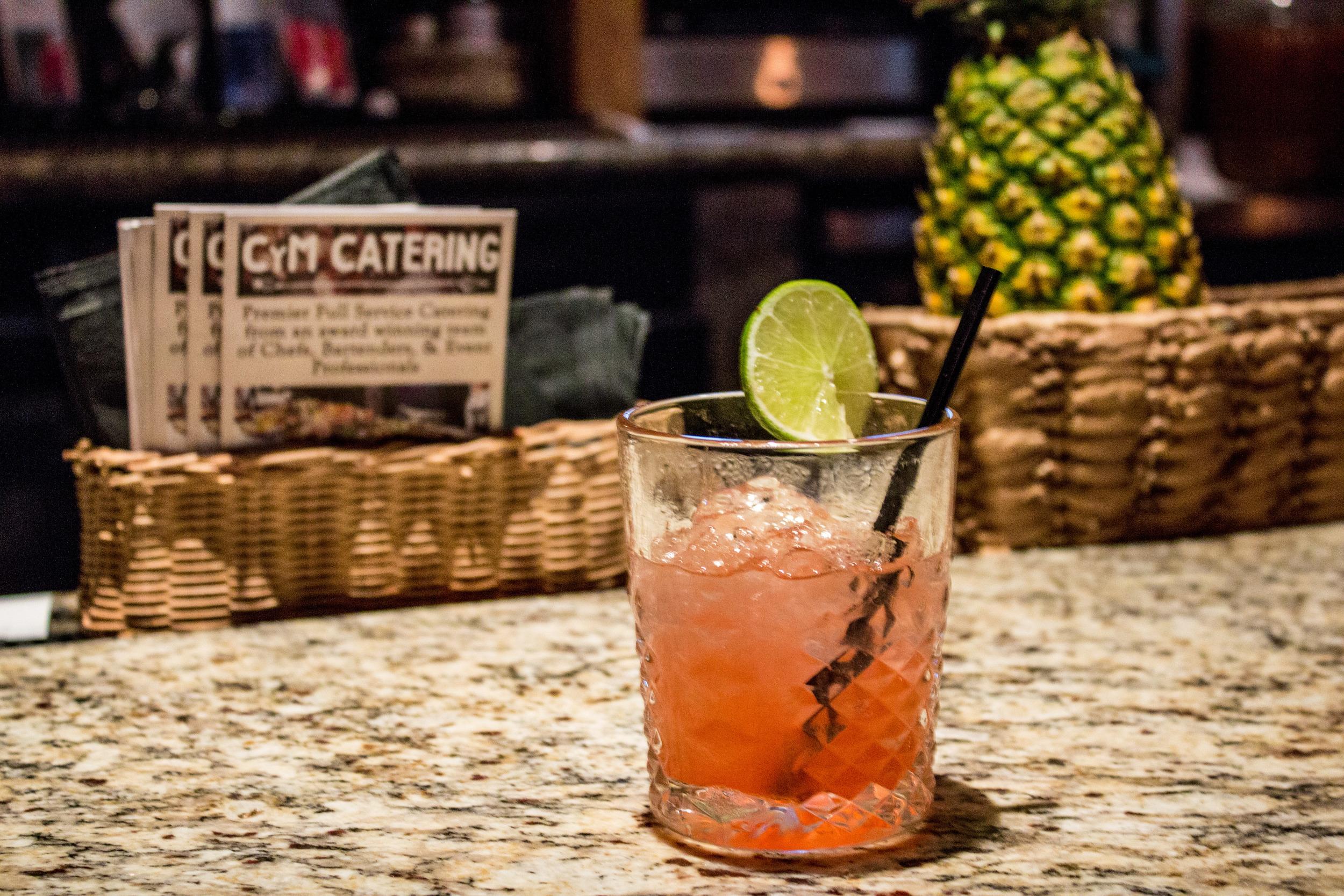 Cocktail 'Salsa Roja': Jalapeno infused tequila, watermelon, summer berries, cilantro, elderflower.