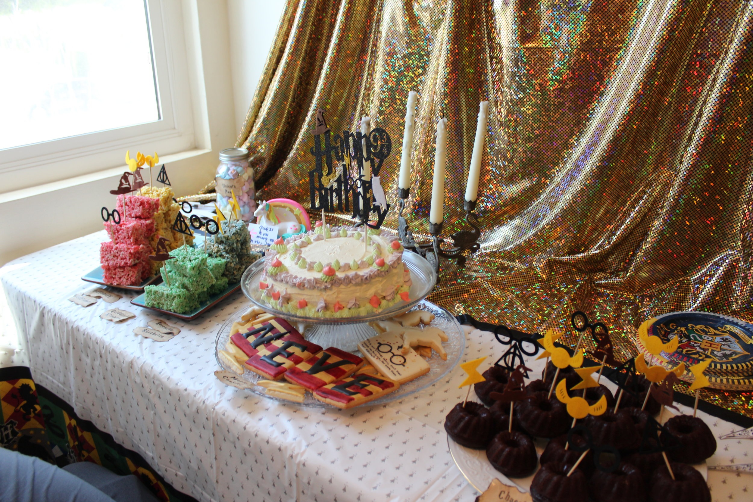 Harry Potter Birthday Party Desserts Table.JPG