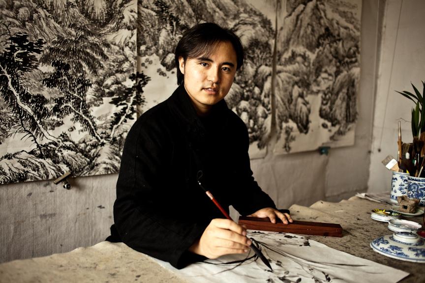 Li Li in his studio