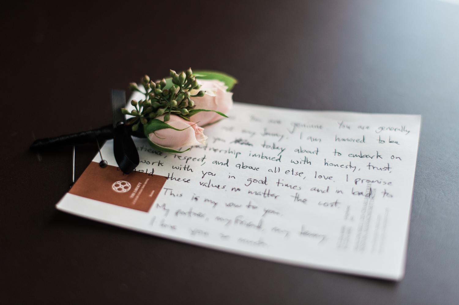 Liberty Hotel Wedding Photography winston's flower boutineer