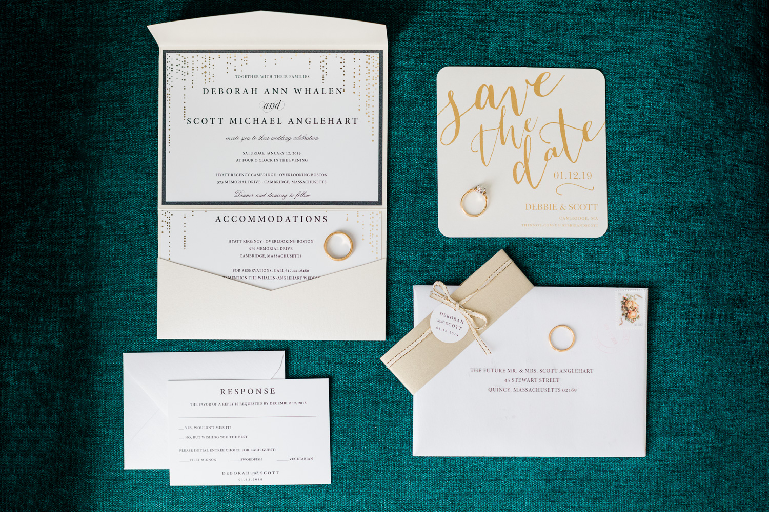 Invitation Suite with emerald background