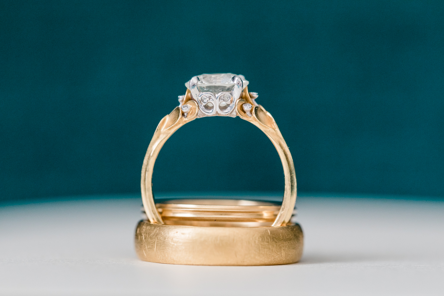 gold wedding and engagement ring