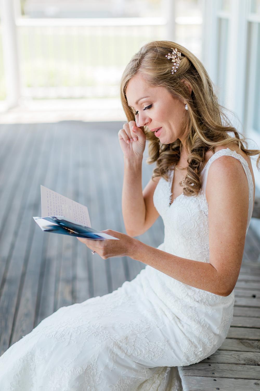 Bride Tearing up reading letter