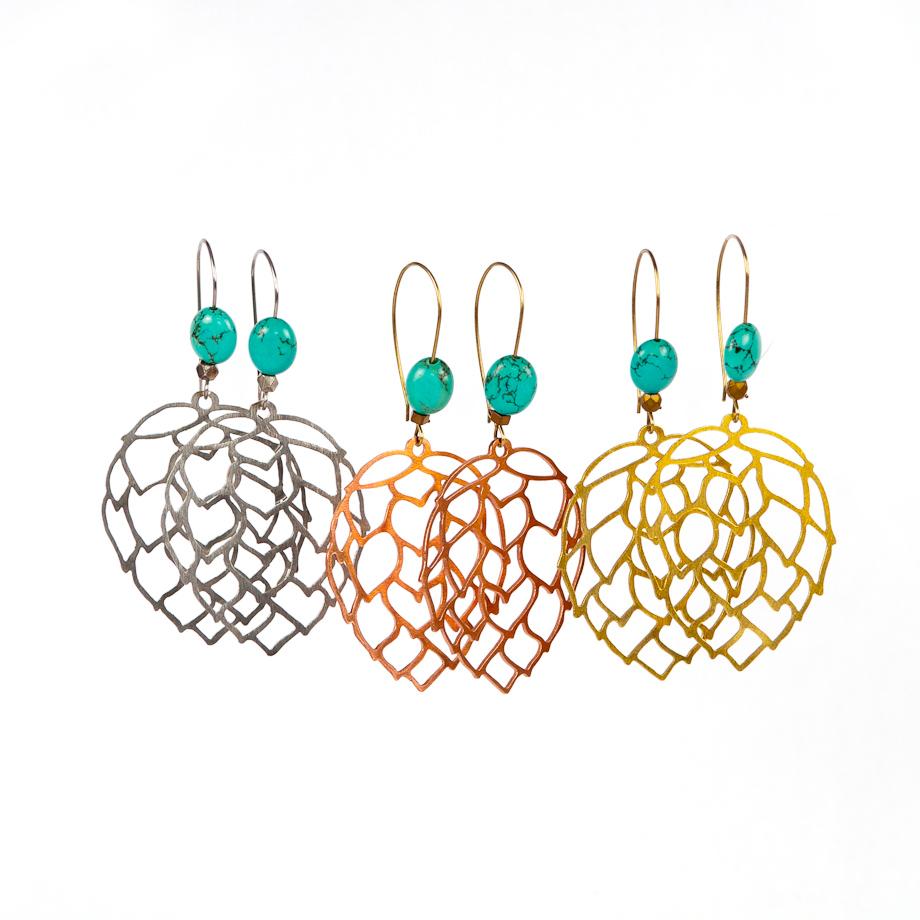Hop Flower Earrings//Hops Drop Earrings