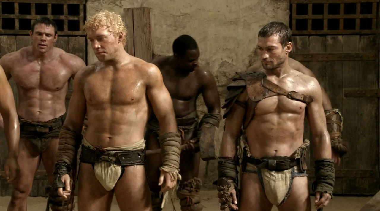 Andy Whitfield (right) as Spartacus on screen.