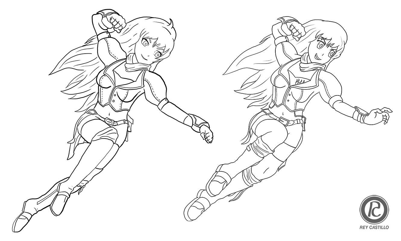 Left - Yellow in her initial incarnation  Right - redone, improved, and ready for colouring!