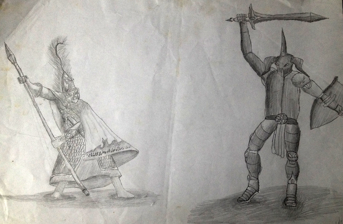 "To round it out, heres one fromm when I was around...13-14 I think? I was starting to experiment with shading, I spent ages working on the Elf (no idea why I gave him a big feather, nor why he is holding his spear AWAY from his enemy...looks like hes saying ""No! NO! BAD CHAOS KNIGHT!"") and then decided to just quickly draw a crappy enemy to fight...apparently I didnt know how a pelvis should look if youre not an action figure."
