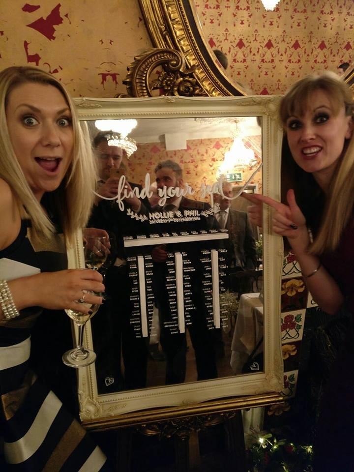 Cara & Nikki Admiring the Table Plan