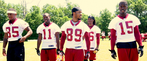 Leonard Hankerson (85), Santana Moss (89) and Josh Morgan (15) will all vy for playing time opposite Pierre Garcon (Courtesy of BlogSoHard.com)