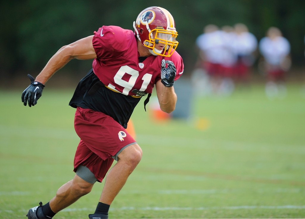 Ryan Kerrigan will benefit from having Brian Orakpo, the other half of the Redskins' bookend pass-rushers, back from injury this season.