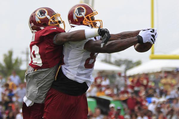 Wideout Leonard Hankerson has impressed thus far at training camp. The third-year pro out of Miami needs to display more consistency in 2013.
