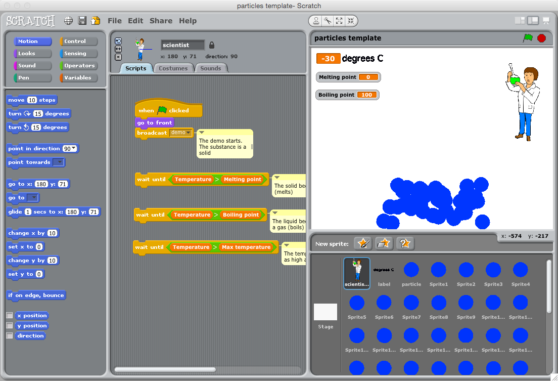 Modelling states of matter in Scratch