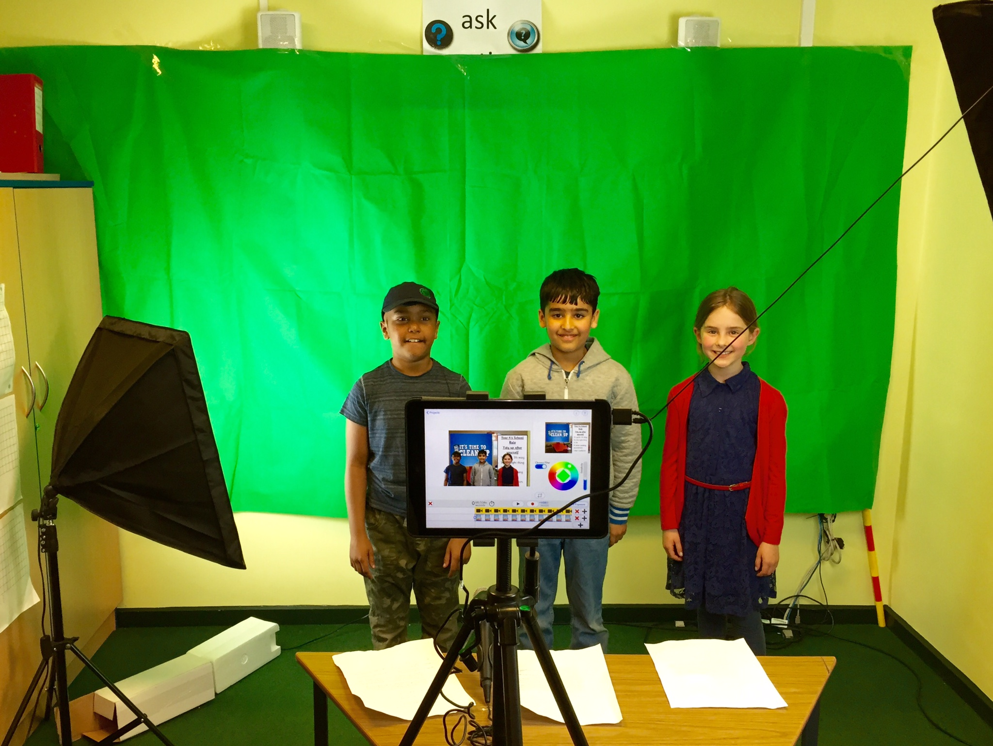 Filming in front of the green screen.