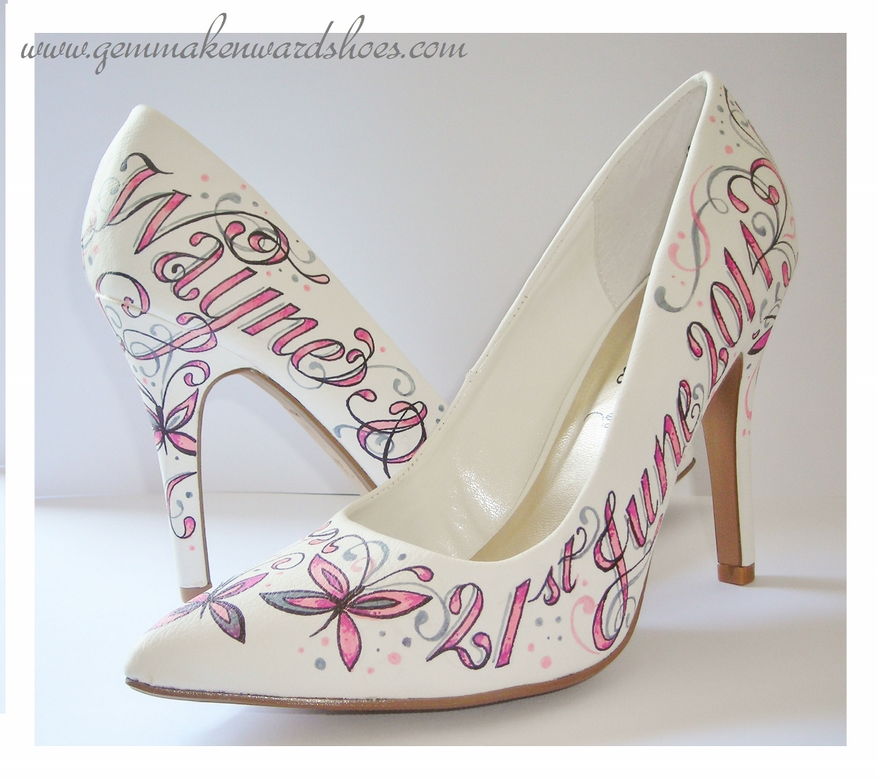 Pink and white hand painted wedding shoes for a bride in Somerset.