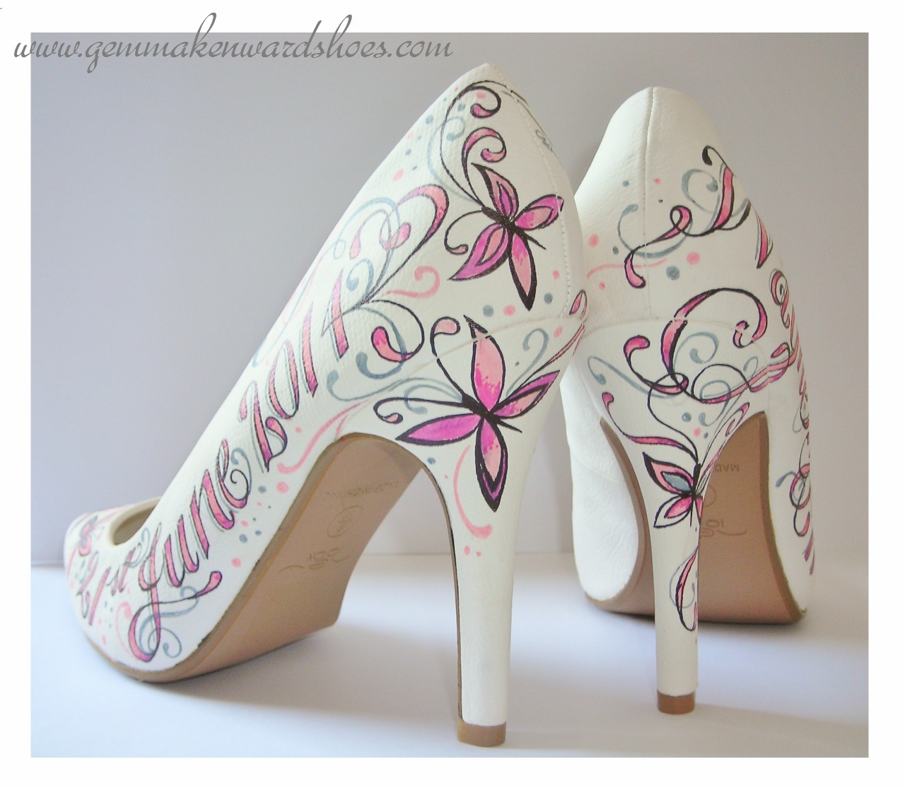 A touch of grey within the pink and white on hand painted shoes for a wedding in 2014.