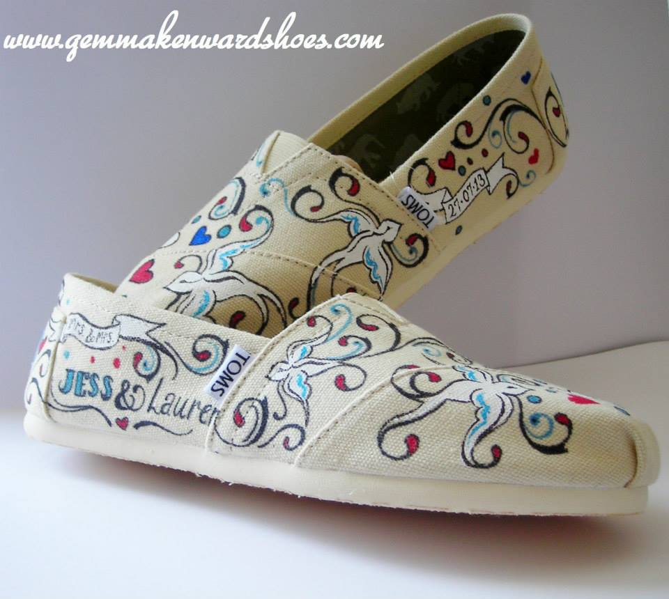 Hand painted Wedding flats with a personal touch