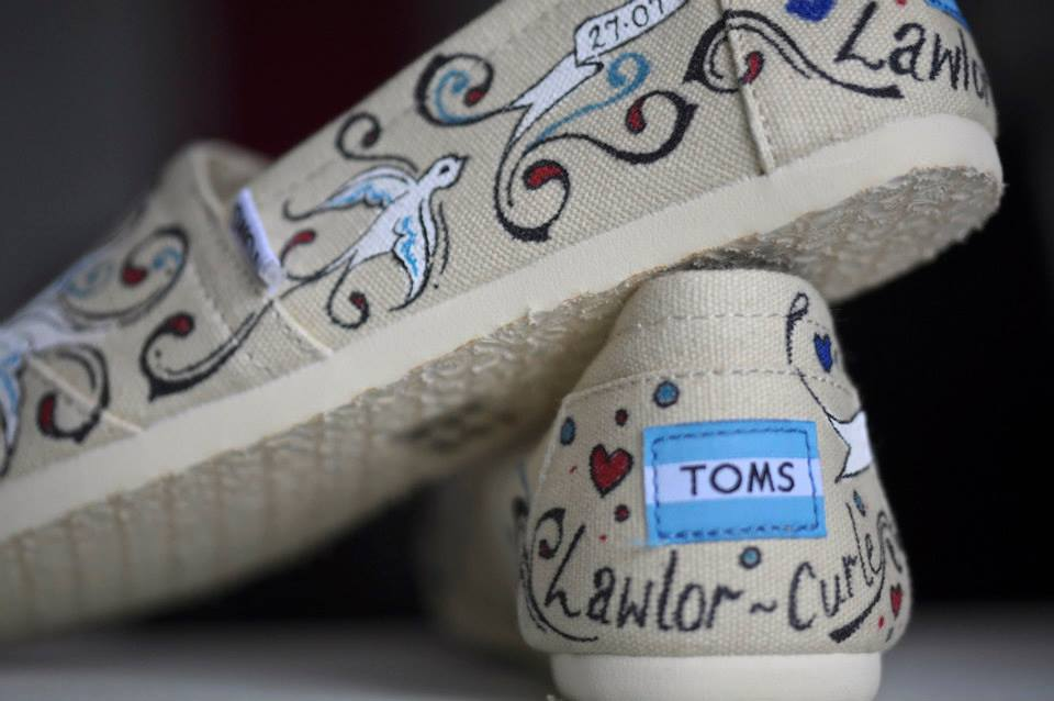 Hand Painted Toms for a wedding - comfy flats personalised for two gorgeous brides.