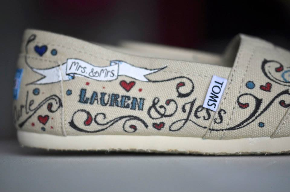 Mrs & Mrs Hand painted wedding shoes with swallows and scroll (and hearts too!)
