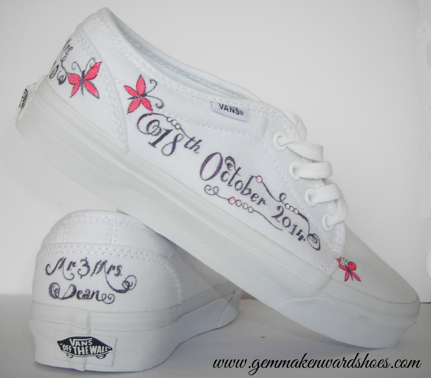 Hand Painted Vans (trainers) for a wedding in October. Personalised with vintage pearls and butterflies.