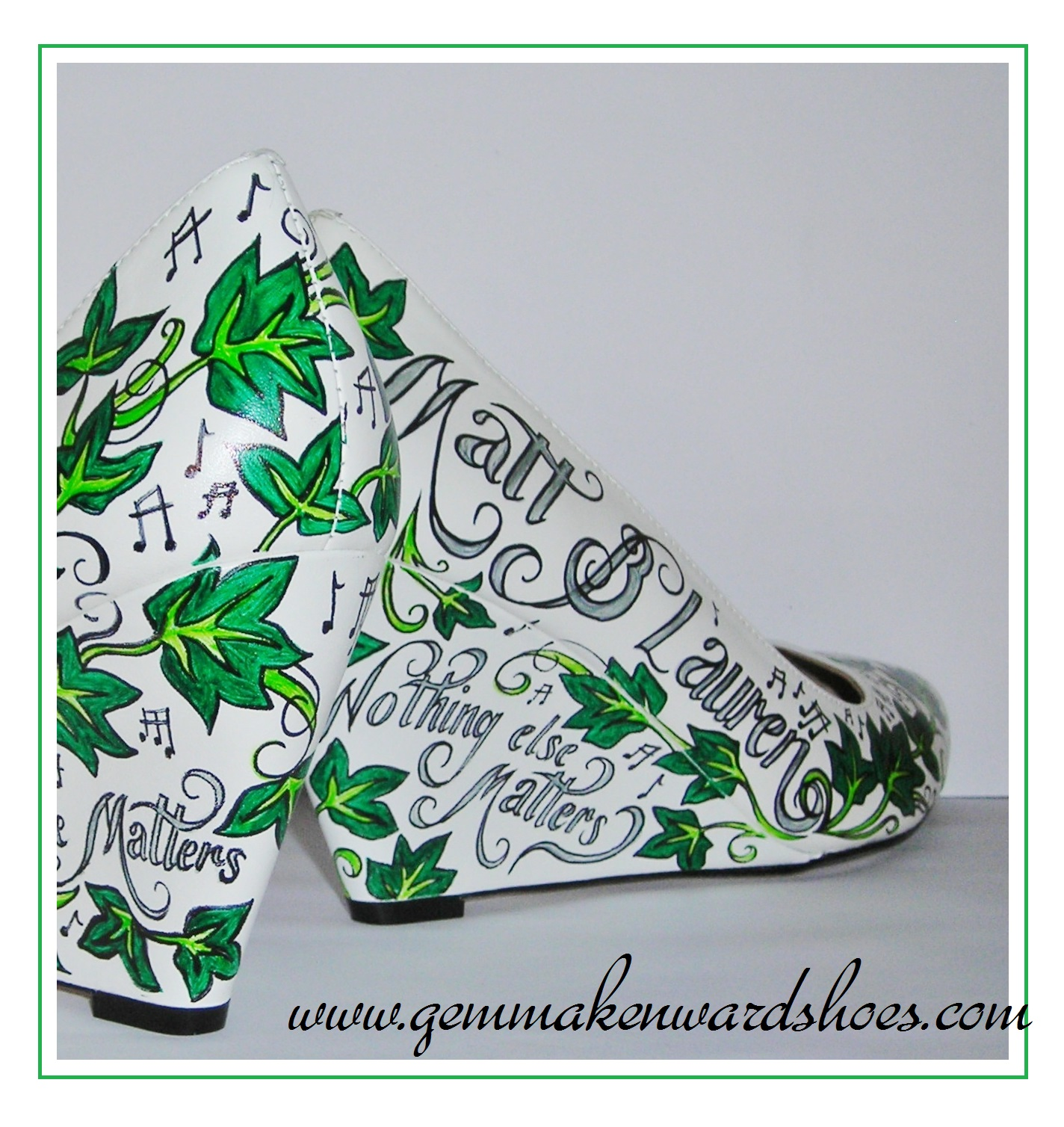 'Nothing Else Matters' Metallica lyrics painted onto a pair of wedges.