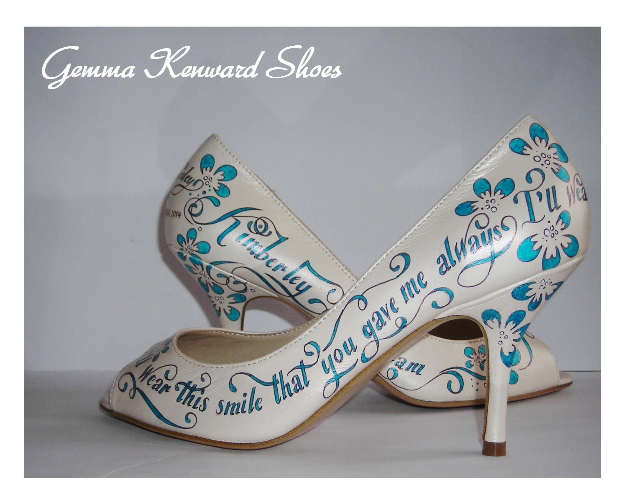 Blue and white bridal shoes personalised with lyrics and flowers