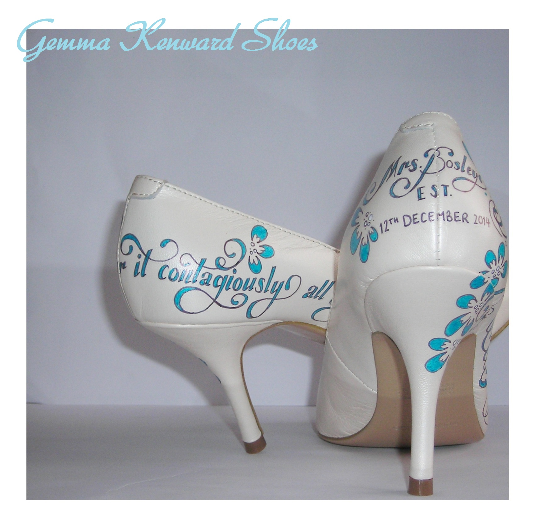 The back of the shoes 'Mrs. Bosley ~ Established 12th December 2014' What a fantastic idea to have on the shoes.