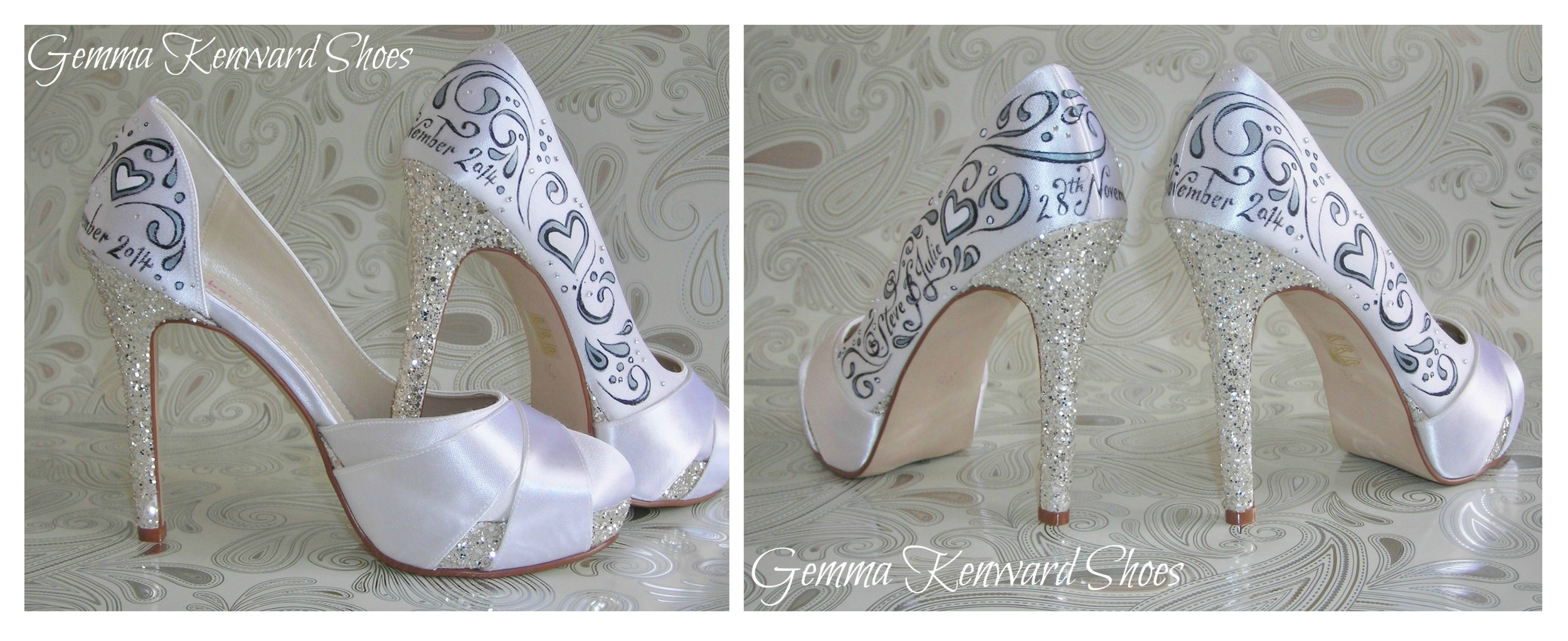Delicate black silver and black wedding shoes hand painted with hearts.