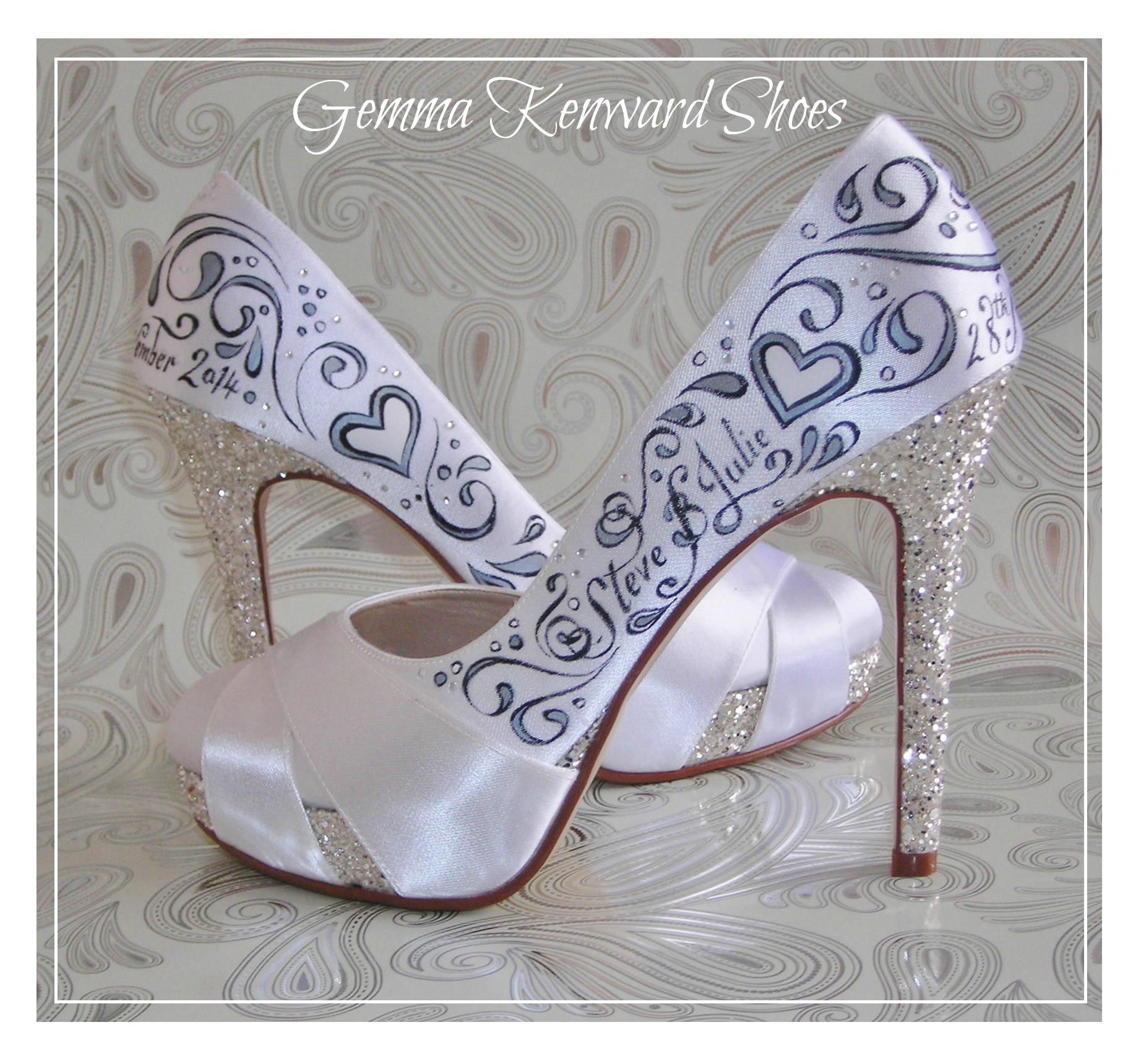 Hand painted wedding shoes for Steve and Julie who get married in November.