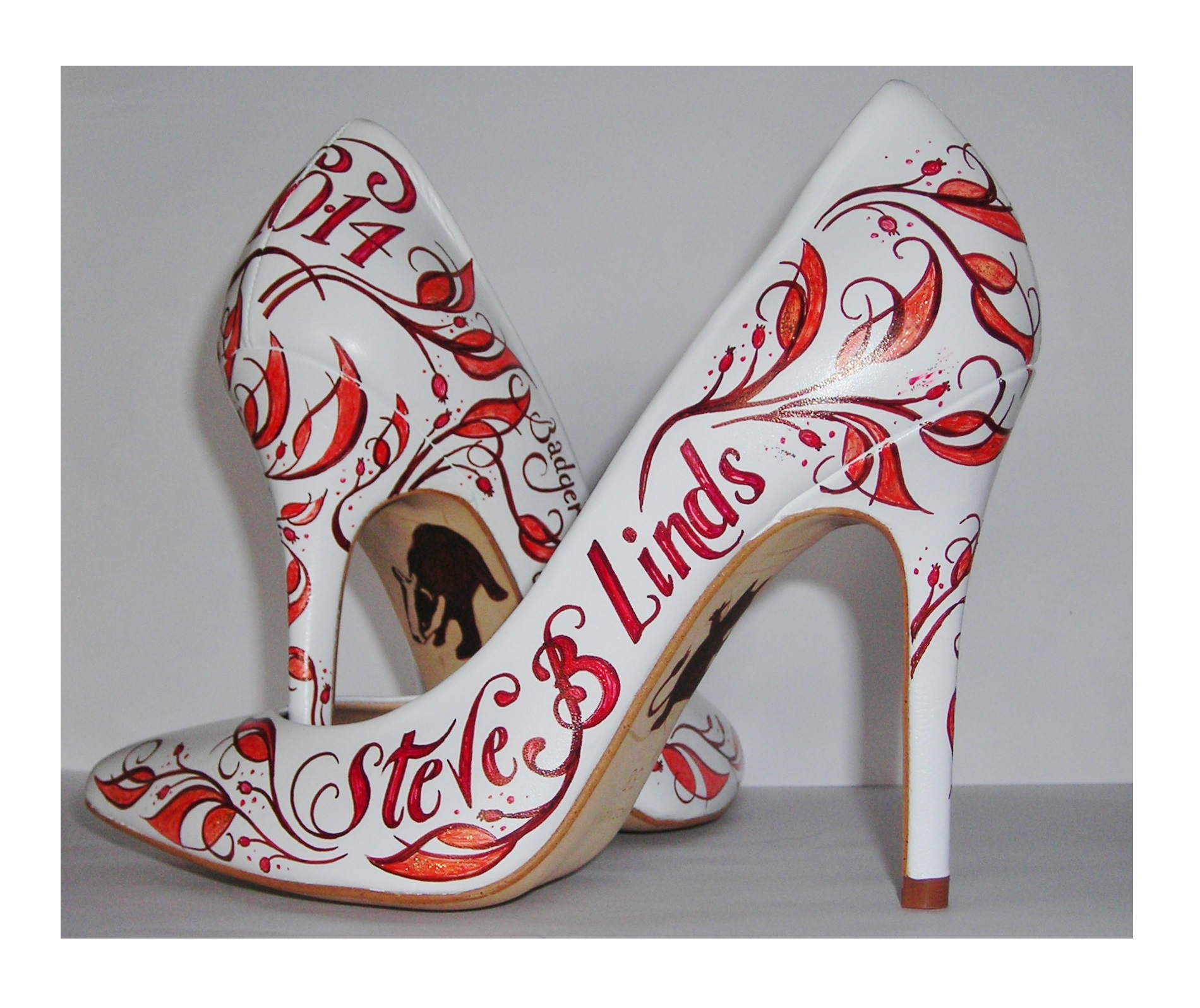 Orange and white autumnal hand painted wedding shoes