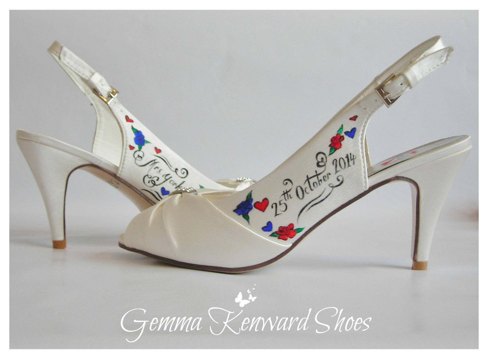 Customised painted wedding shoes