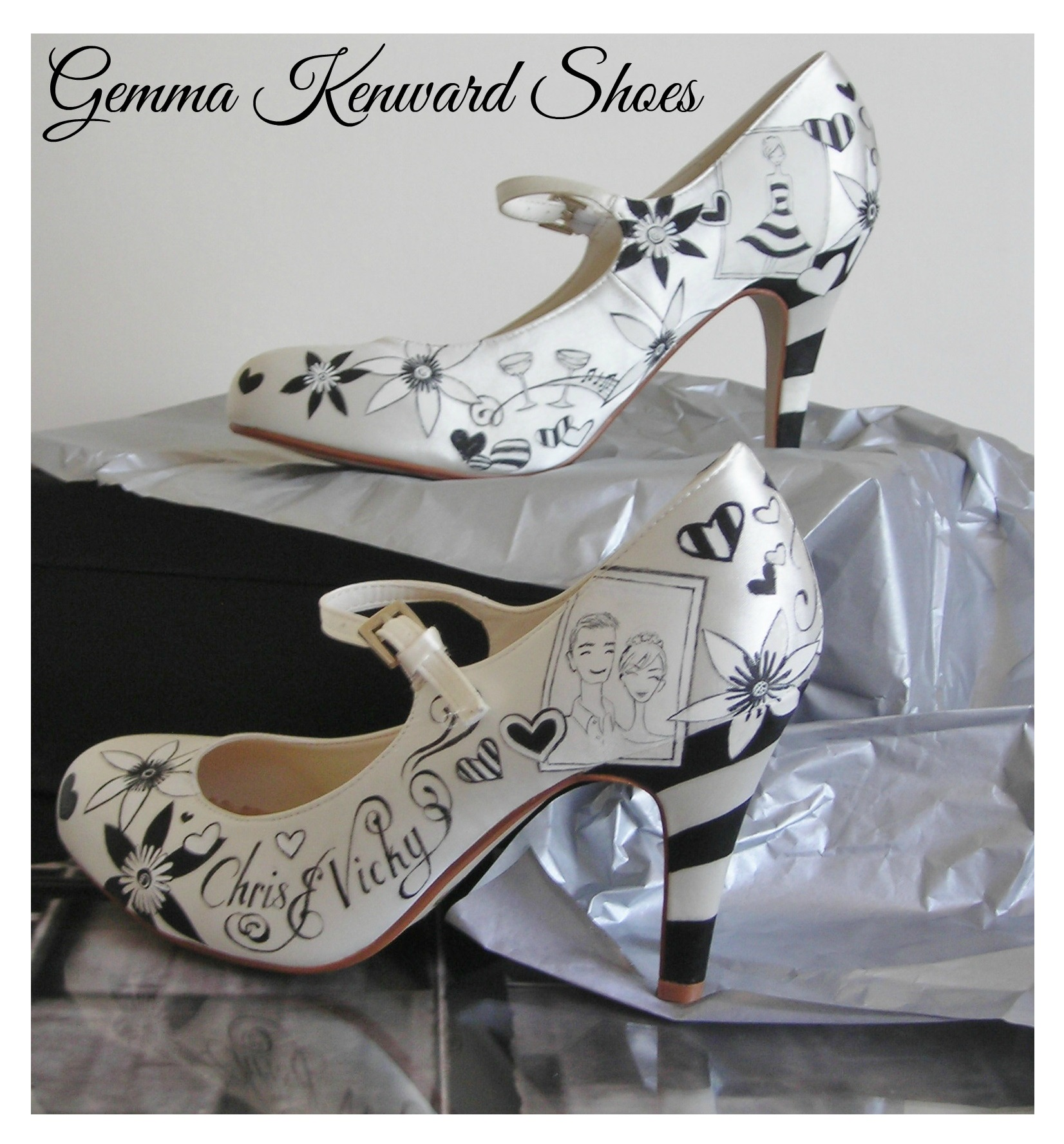 Black and white hand painted wedding Mary Janes.