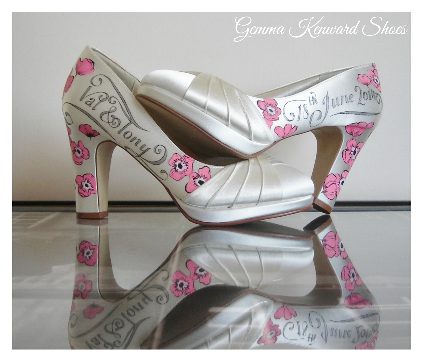 personalised pink poppies painted on satin shoes.jpg