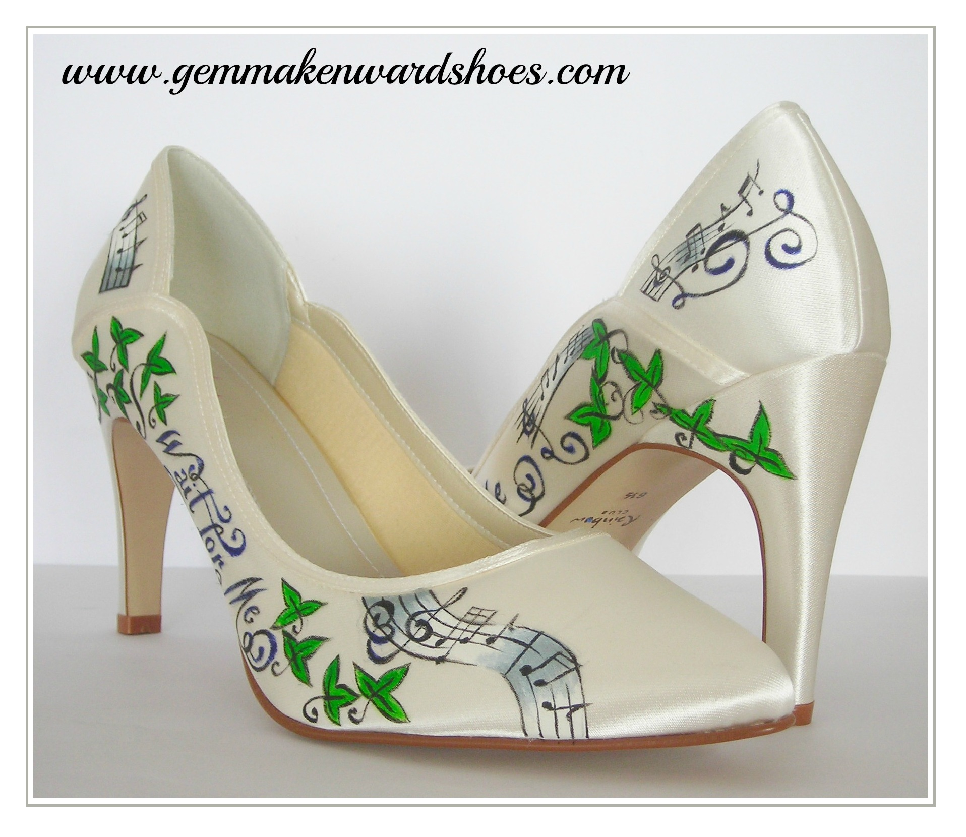 Customised wedding shoes with Kings of Leon Lyrics, Ivy and Music notes