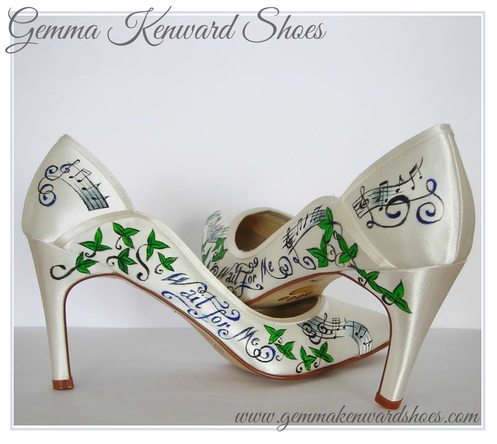 Hand Painted wedding shoes personalised with Kings of Leon Lyrics, Ivy and Music notes