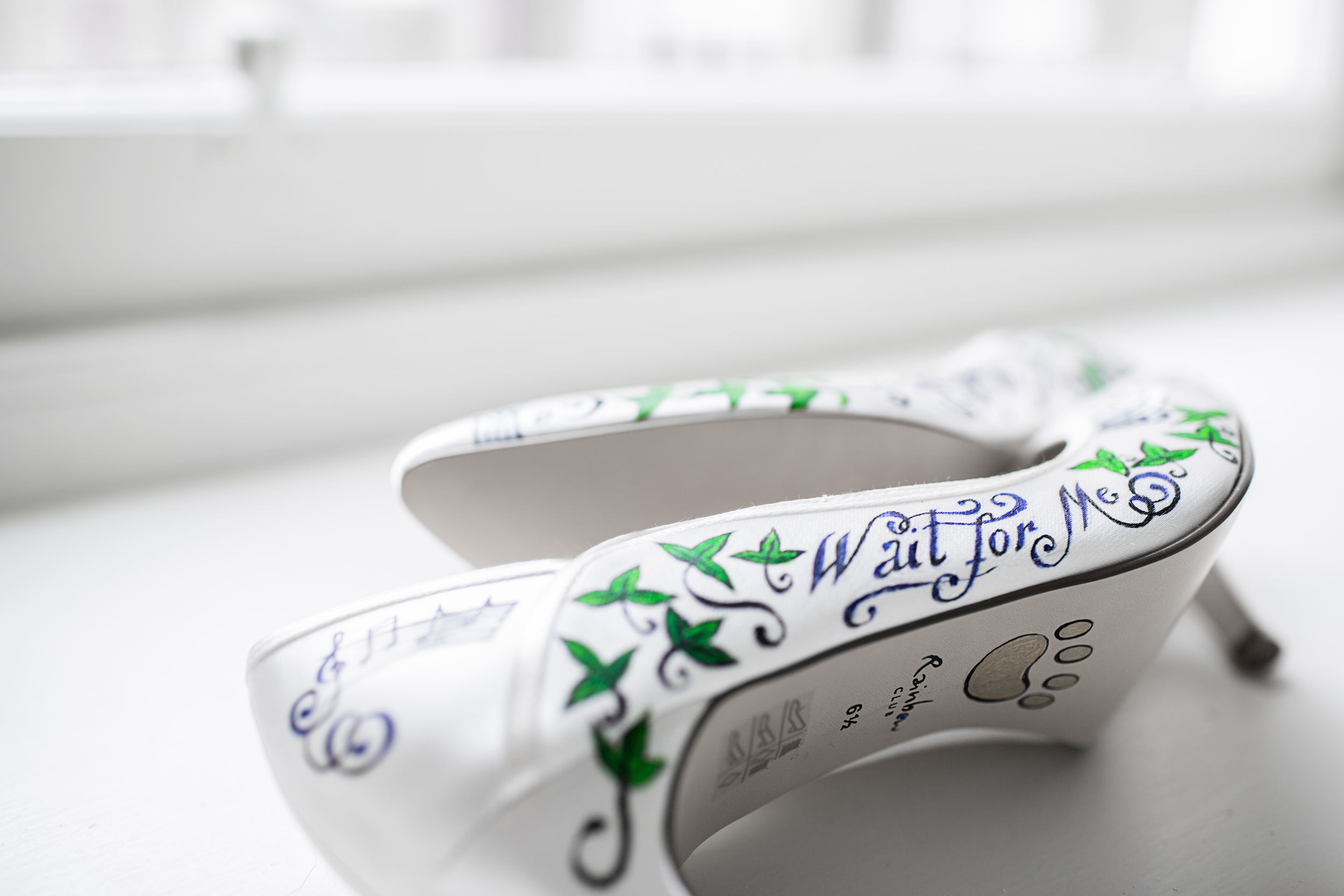 Hand Painted Rainbow Club Wedding Shoes with Kings of Leon lyrics and musical notes